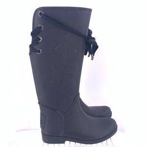 Coach Women's Laced High Rain Boots Size 8